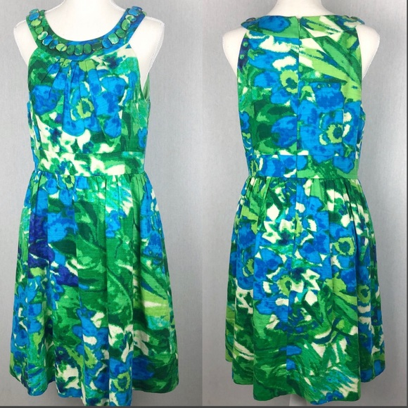 Eliza J Dresses & Skirts - Eliza J Green & Blue Fit & Flare Dress
